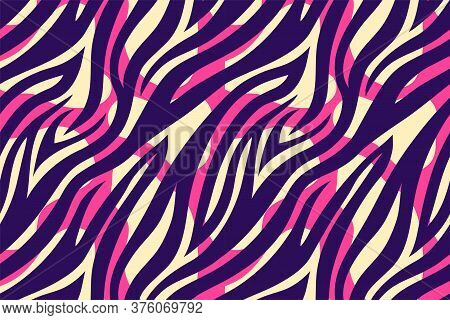 Trendy Color Abstract Tiger Pattern Background. Hand Drawn Pink And Violet Fashionable Wild Animal S