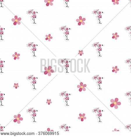Flamingo Child. Vector Baby Seamless Pattern. Cute Little Flamingo With An Umbrella