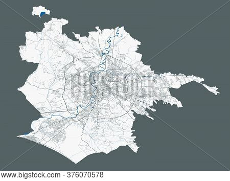 City Of Rome Map. Detailed Vector Map Of Rome City Administrative Area. Poster With Streets And Wate