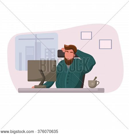 Business Man Is Sitting On Armchair With Laptop. Freelance. Vector Illustration Of A Flat Design. We