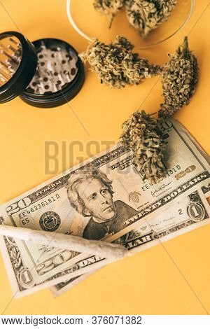 Joint Weed. Cannabis In Economics. Sativa Thc Cbd. Money Weed. Marijuana Weed Bud And Grinder.