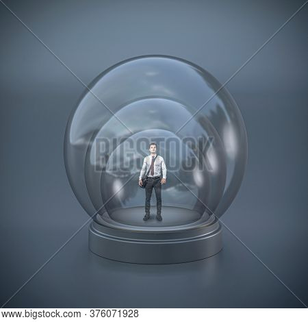 businessman in a triple glass bubble. concept of protection and limitation, imprisonment. conceptual abstract image.