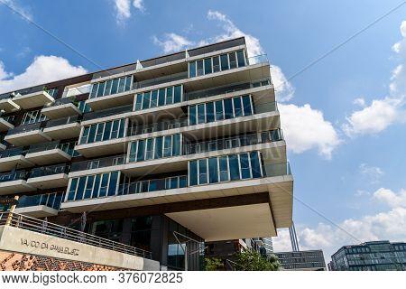 Hamburg, Germany - August 7, 2019: Luxury New Residential Buildings In Hafencity Area Of Hamburg.