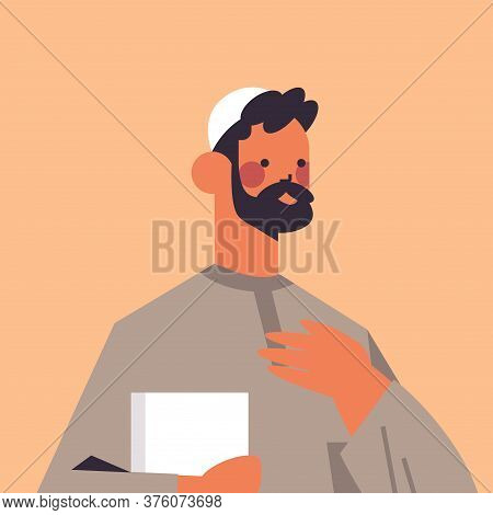 Arabic Man In Traditional Clothes Arab Prayer With Quran Male Cartoon Character Portrait Vector Illu