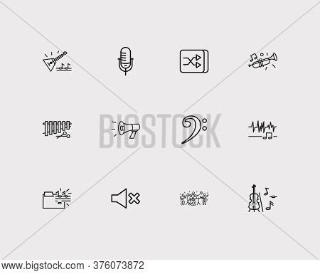 Music Icons Set. Music Folder And Music Icons With Megaphone, Trumpet And Shuffle Button. Set Of Ste