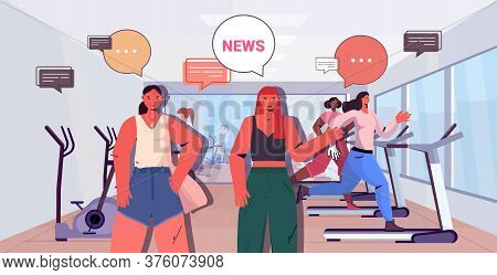 Sportswomen Discussing Daily News During Fitness Workout Chat Bubble Communication Healthy Lifestyle