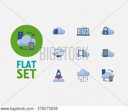 Cloud Service Icons Set. Data Transfer And Cloud Service Icons With Machine Learning, File Storage A