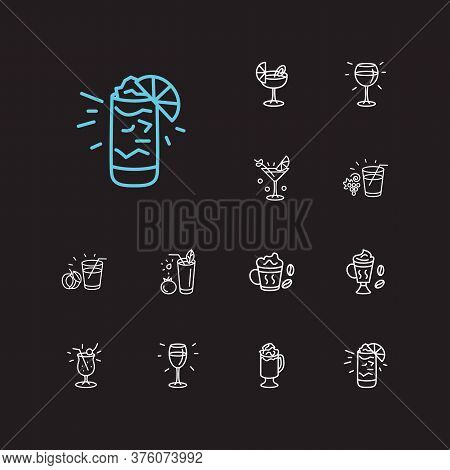 Beverage Icons Set. Pina Colada And Beverage Icons With Grape Juice, White Wine And Gin Fizz. Set Of