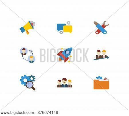 Technology Cooperation Icons Set. Teamwork And Technology Cooperation Icons With Collaboration, Succ