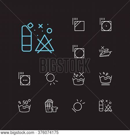 Clothes Icons Set. Delicate And Clothes Icons With No Steam, Temperature And Tumble Dry. Set Of The