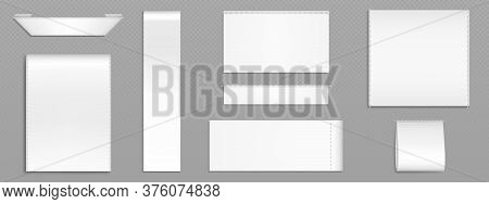 White Fabric Tags For Textile Isolated On Transparent Background. Vector Realistic Mockup Of Blank C