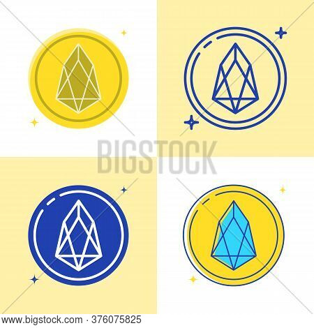 Eos Altcoin Symbol Icon Set In Flat And Line Style