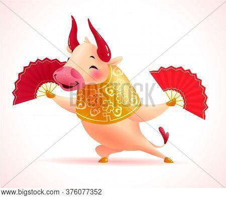 Chinese New Year Mascot - collection Of Traditional Art Oriental Bull Animal Character Isolated On W