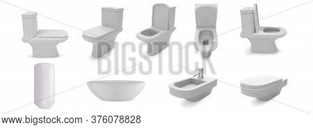 Washroom Toilet Sink Isolated On White Background. 3d Realistic Vector Objects. Bathroom Ceramic Fur