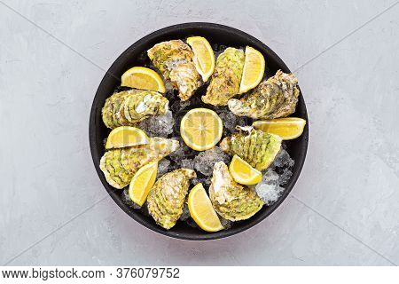 Fresh Opened Oysters Close-up On Black Plate With Sliced Lemon And Ice. Healthy Sea Food. Gourmet Fo