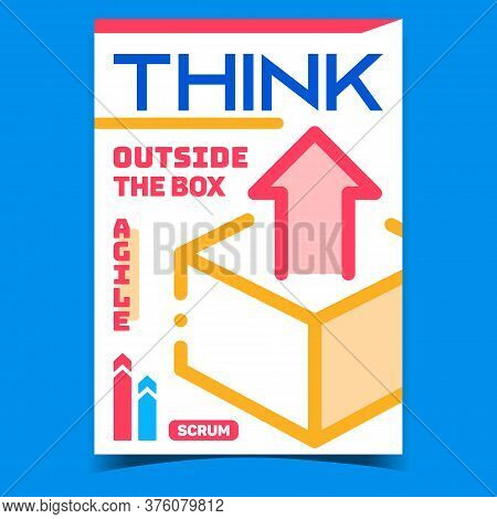 Think Outside Box Creative Promo Poster Vector. Cardboard Box With Growth Arrow On Advertising Banne