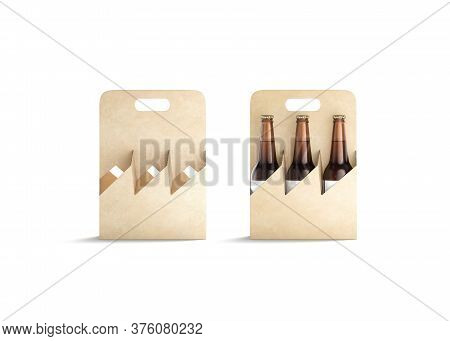 Blank Craft Glass Beer Bottle Cardboard Holder Mockup, Front View, 3d Rendering. Empty Take Out Alch