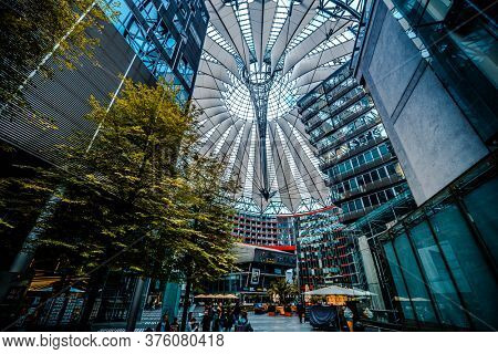 Berlin, Germany - 20 September 2019: Roof and interior of Sony center in Berlin, Germany