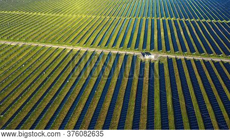 Solar Panels In Aerial View Photovoltaic Power Plant