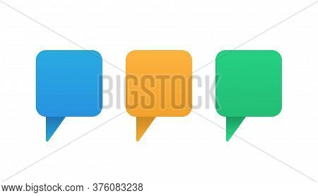Speech Message In Bubble Style. Blue, Orange And Green Gradient Chat Dialogue. Square Baloon Convers