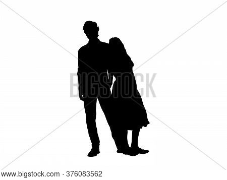 Silhouette Of An Adult Brother With Teenage Sister. Illustration Graphics Icon