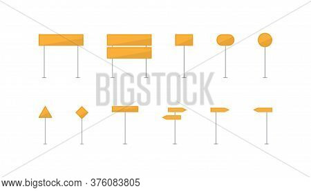 Set Of Yellow Road Sign. Traffic Direction Arrows. Highway Sign Board. Crossway Information Set. Tem
