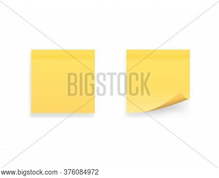 Yellow Stick Note. Isolated Paper Sticker. Blank Notepad Message. Reminder Note With Shadow. Realist