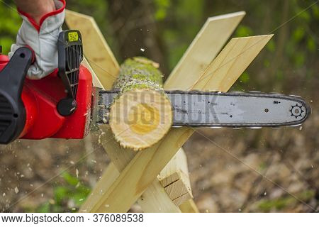 Chainsaw In Action Cutting Wood. Man Cutting Tree Trunk Into Logs With Saw On Sawhorse. Chainsaw. Cl