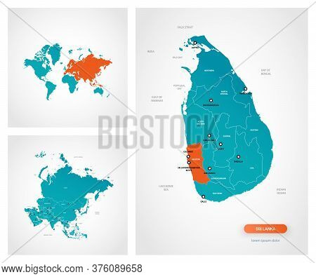 Editable Template Of Map Of Sri Lanka With Marks. Sri Lanka On World Map And On Asia Map.