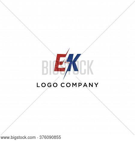 Letter E K Logo With Lightning Icon, Letter Combination Power Energy Logo Design For Creative Power