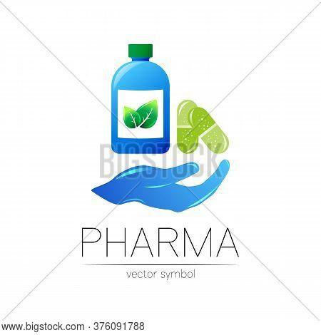 Pharmacy Vector Symbol With Blue Bottle And Green Leaf, Pill Capsule On Hand For Pharmacist, Pharma