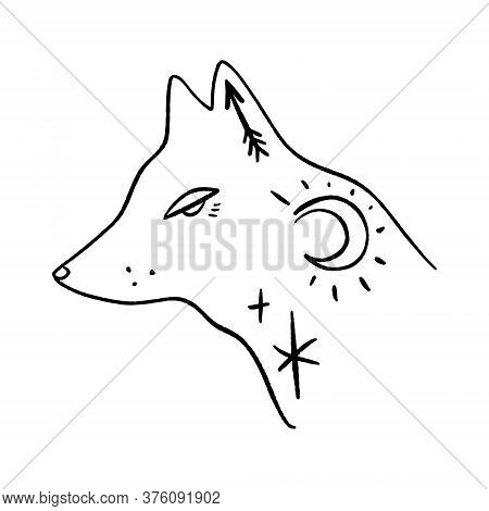 Wolf Moon Logo. Ornate Animal. Modern Witch Concept. Witchcraft Culture. Harmony And Zen. Crescent M