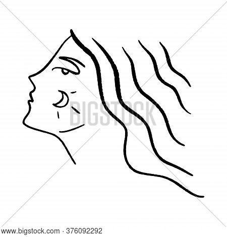 Line Art Woman. Self Love And Care Concept. Continuous Line Drawing, Fashion, Beauty Care Minimalist