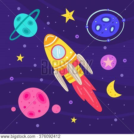 Space Vector Flat Illustration, Set Of Elements, Stickers, Icons. Rocket, Spaceship, Planet, Asteroi