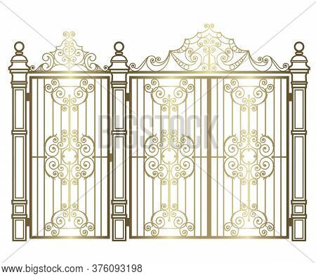 Golden Forged Gate And Wicket On A White Background
