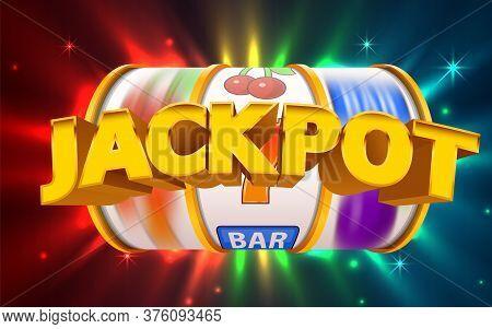 Slot Machine Wins The Jackpot. Online Casino Banner. 777 Casino Background