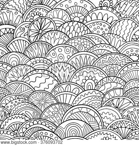 Abstract Scales Doodle Pattern Adult Coloring Page