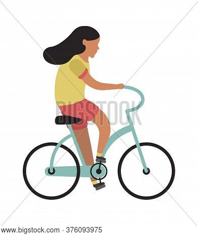 Girl Riding Bicycle. Simple Young Character Cyclist Teenager Rides On Bike. Outdoor Activities In Pa
