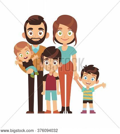 Happy Parents With Children. Mom Dad And Sons Smile Stand And Hold Hands Cartoon Character, Family R