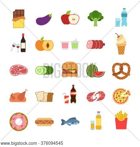 Flat Food. Hamburger And Bread, Pizza And Fruits, Drinks. Vegetables, Alcohol And Meat, Vine And Wat