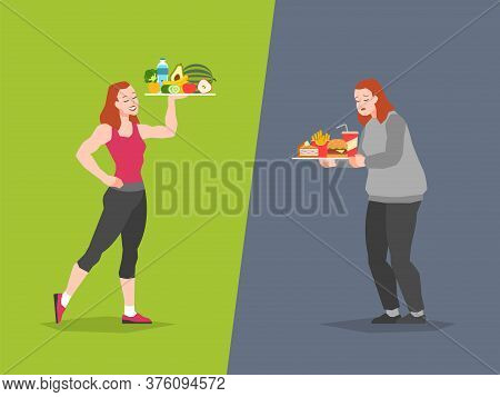 Healthy And Unhealthy Food Choice. Fast Food Vs Balanced Menu Comparison Calories, Female Dieting An