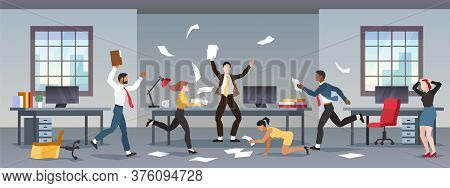 Office Panic. Corporate Business Problems, Collapse Career. Chaos In Workplace With Employees. Men A