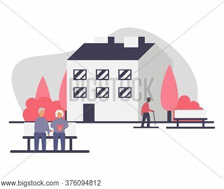 Assisted Living Concept Vector Illustration. Group Of Seniors Sitting On The Bench And Walking On Th
