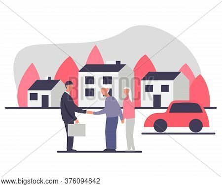 Independent Living Of Senior Couple Concept Vector Illustration. Senior Couple With A Realtor Buying