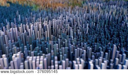 3D render of an abstract landscape of cubes with depth of field