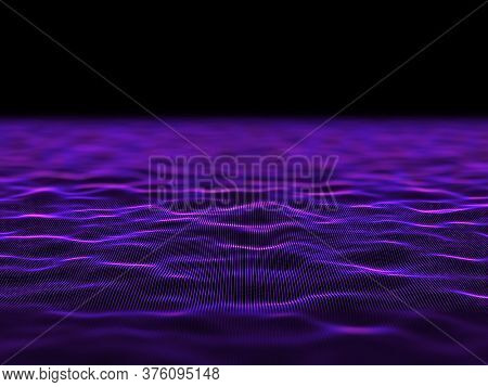 3D render of an abstract digital background with flowing cyber dots