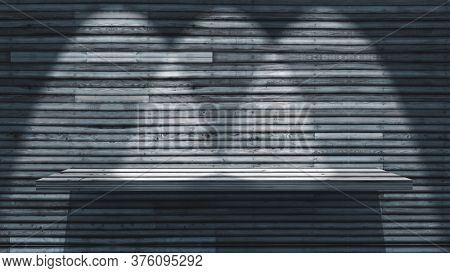 3D render of a wooden shelf on wood wall with spotlights shining down