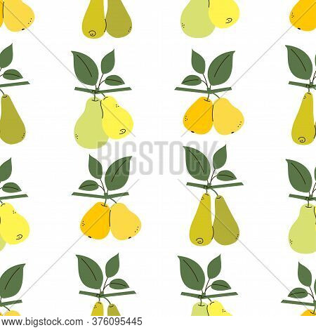 Endless Texture With Yellow, Green, Orange Pears. Pear Tree Branches With Leaves Isolated On White.