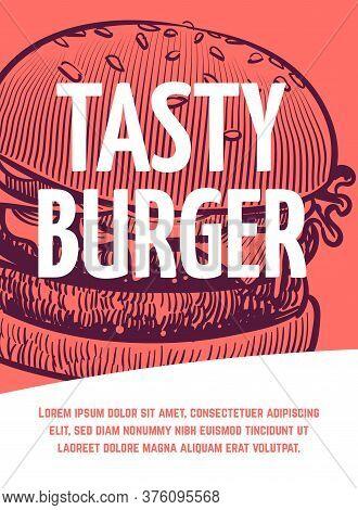 Fast Food Flyer. Tasty Bbq Burger Restaurant Or Cafe Poster, Hamburger Hand Drawn Vector Illustratio