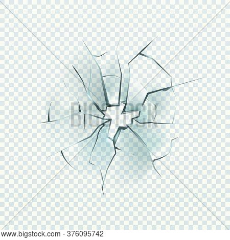 Broken Glass. Realistic Cracked Effect, Destruction Hole, Damage Windshield Or Window, Shattered Mir
